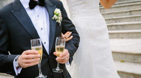 Wedding couple w champagne