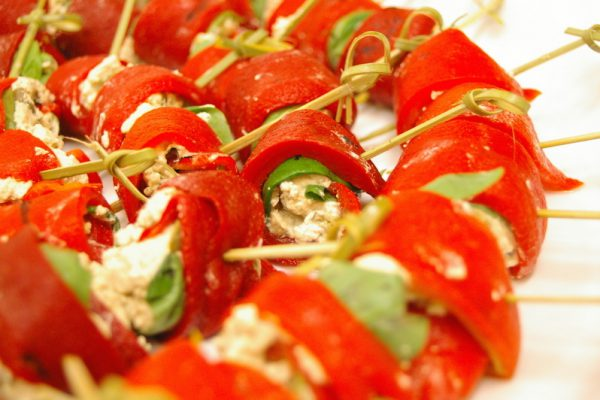 caper, bassil & feta wrapped in roasted red pepper